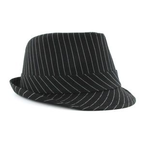 eff7b405a7 Fedora Accessories - Women s Pinstripe Fedora Hat with Feather Black